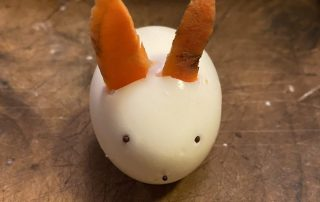 hard boiled egg styled as rabbit