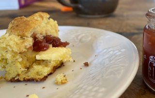 cornbread slice with jam and. butter