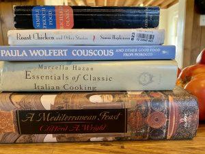 stack of second-hand cookbooks
